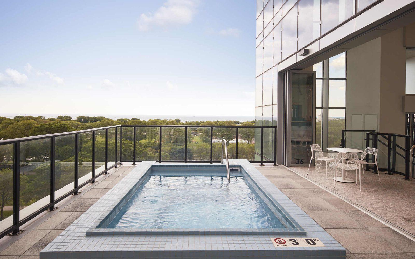 Essex outdoor balcony hot tub