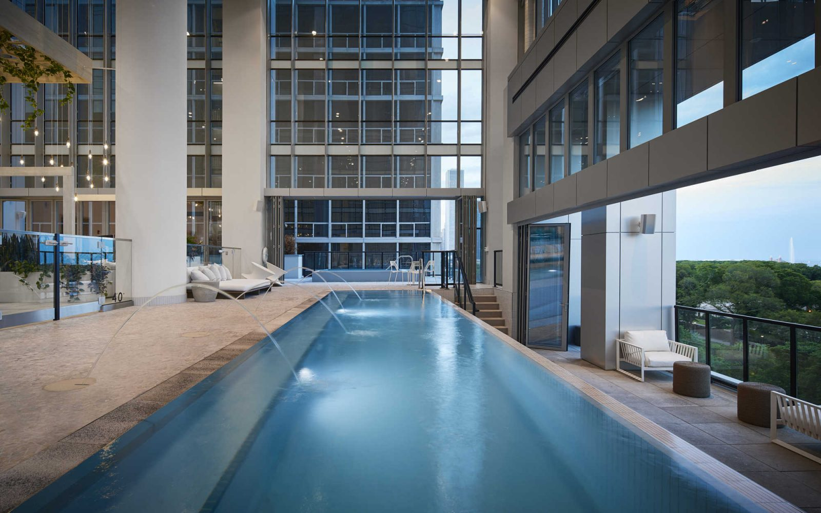 Essex indoor pool with open balcony