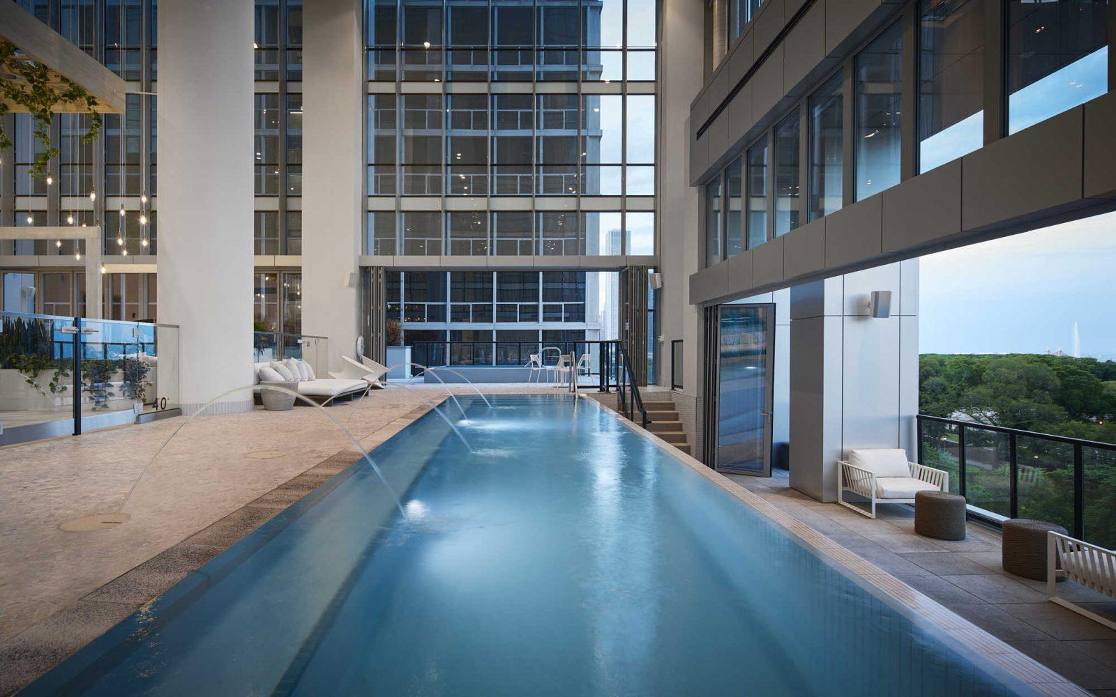 Essex indoor pool with open balcony