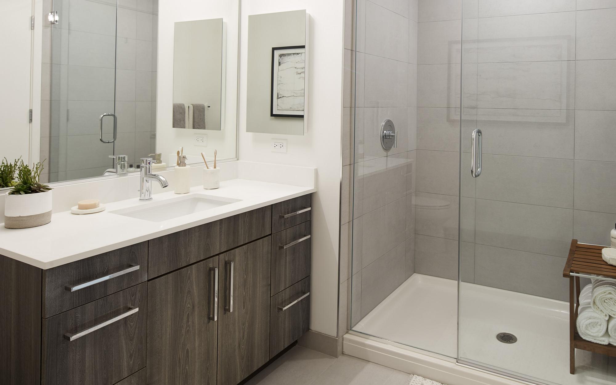 Essex model bathroom with standing steam shower
