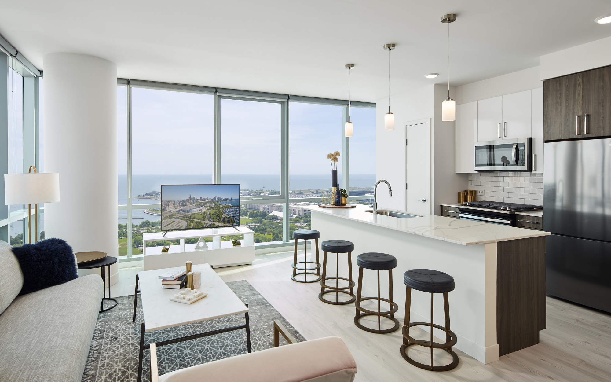 Essex interior kitchen and living room view