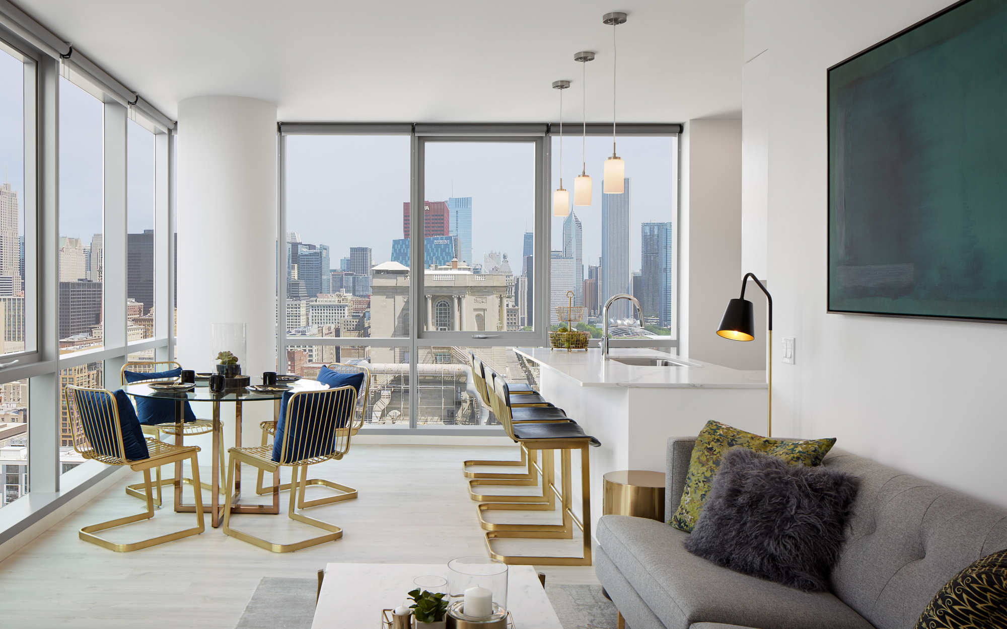 Essex interior living room model with skyline view