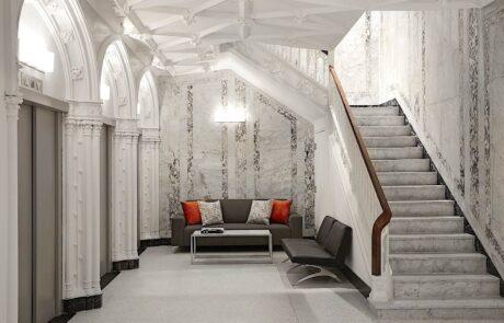 Godfrey Boston elevator lobby and grand stairs