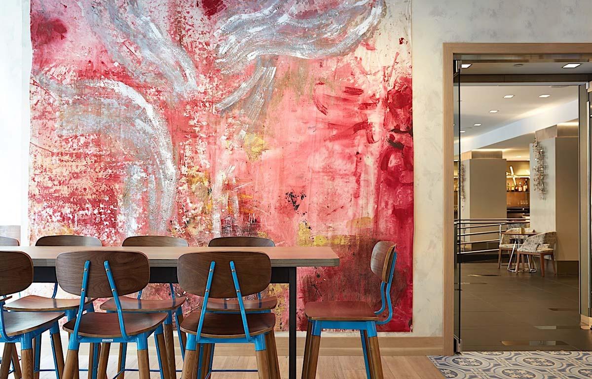 Godfrey Boston dining table and artwork