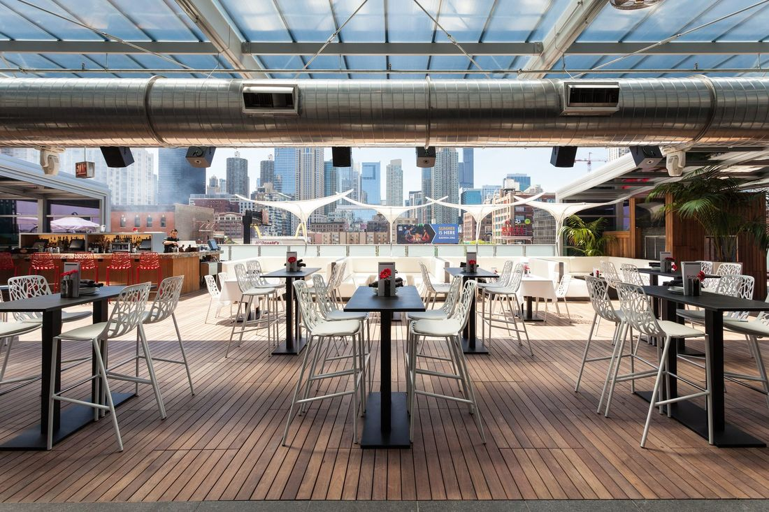 Godfrey Chicago outdoor seating on urban roof escape