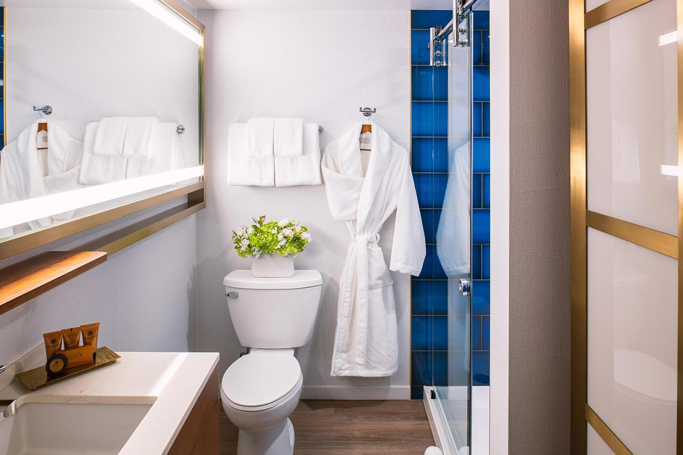 Hotel Essex bathroom with glass shower stall and bathrobe hanging on the wall