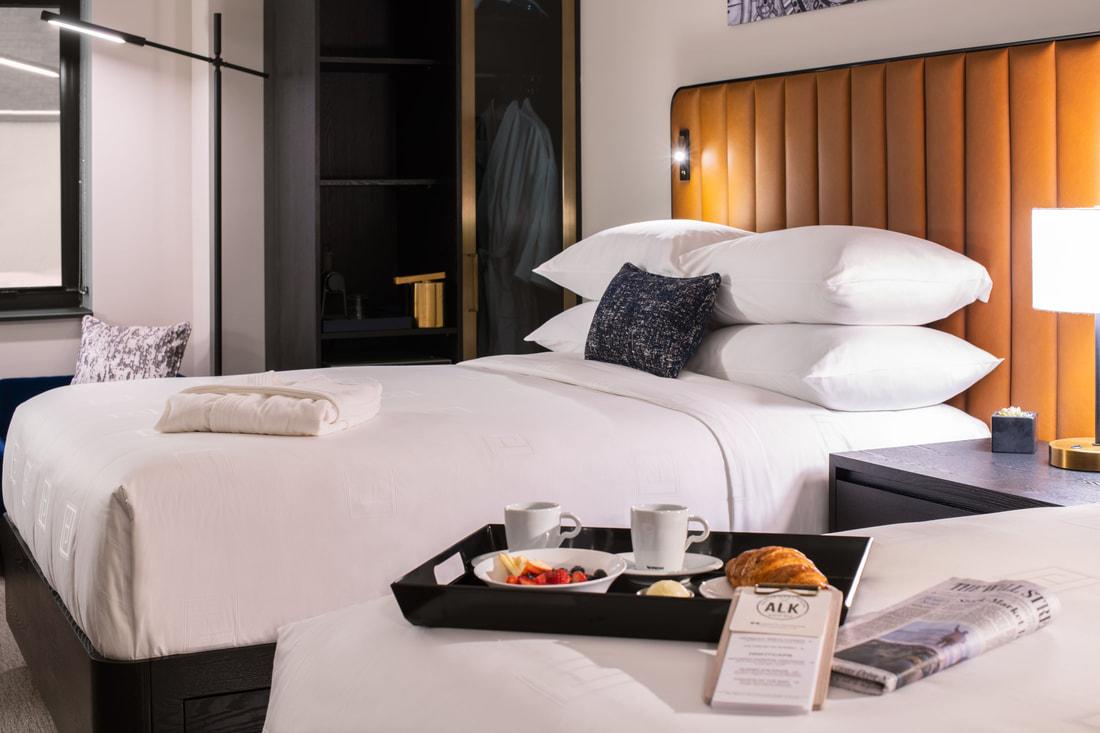 Hotel Julian standard room with break fast tray