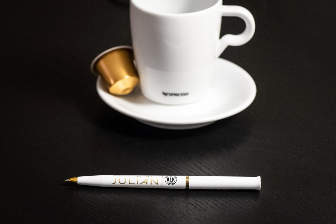 Pen with Hotel Julian and Nespresso coffee mug