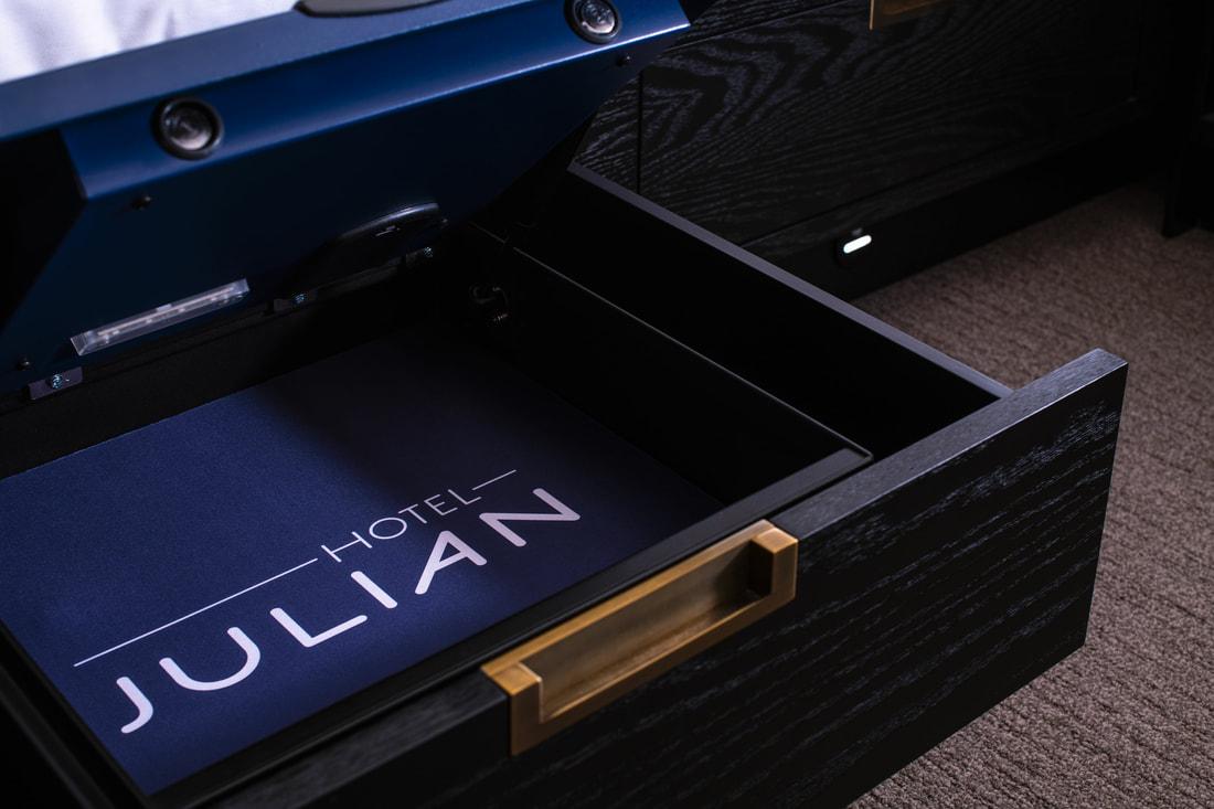 Hotel Julian logo on lock box interior