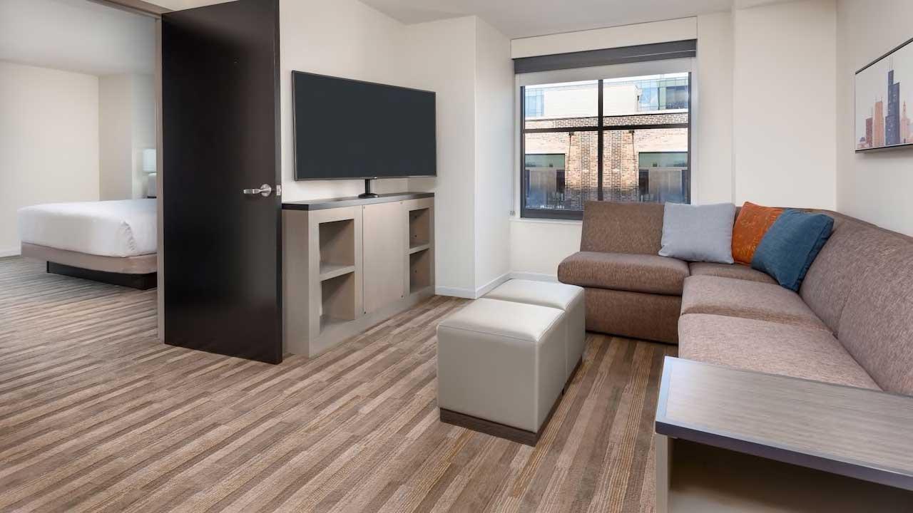 Hyatt House one bedroom suite living area
