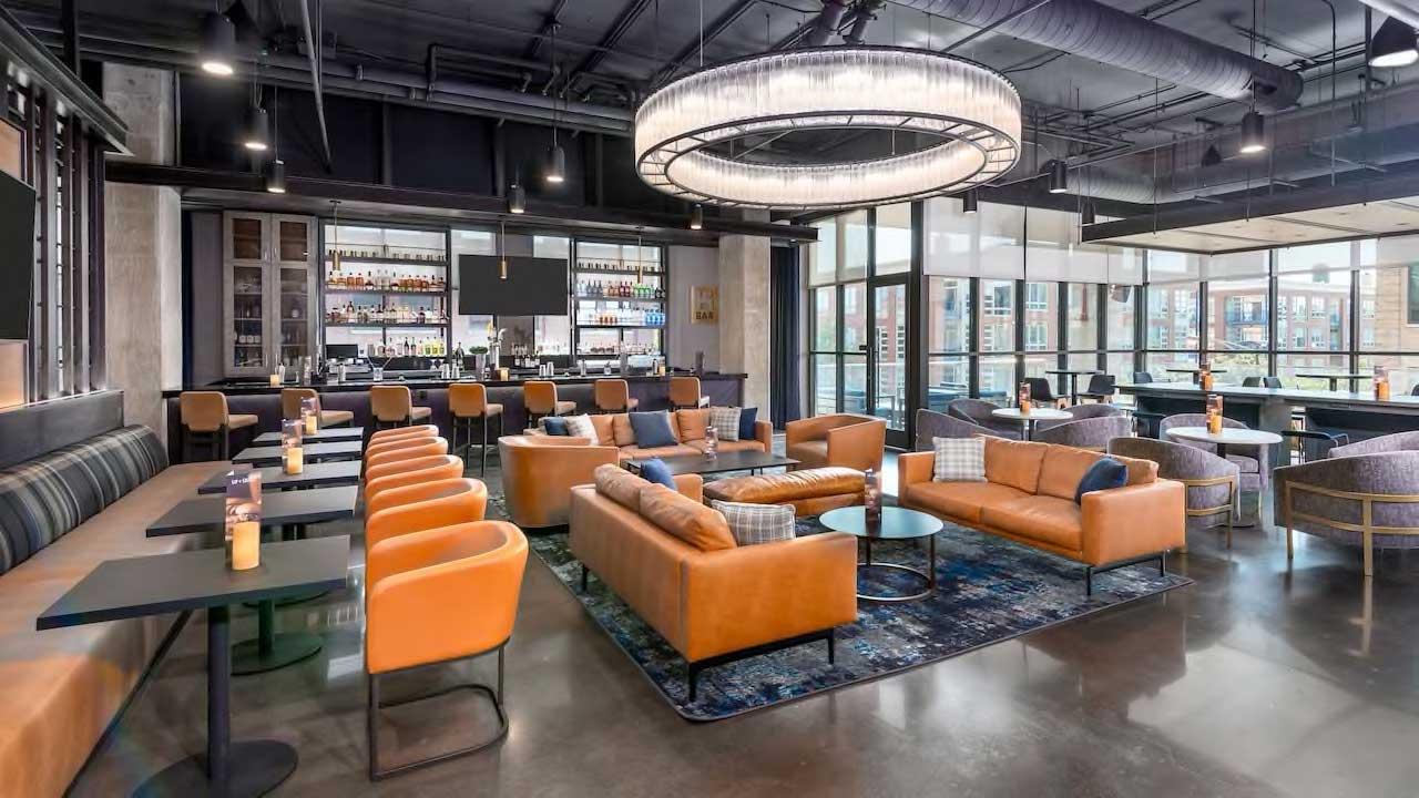 Hyatt House lounge and bar space