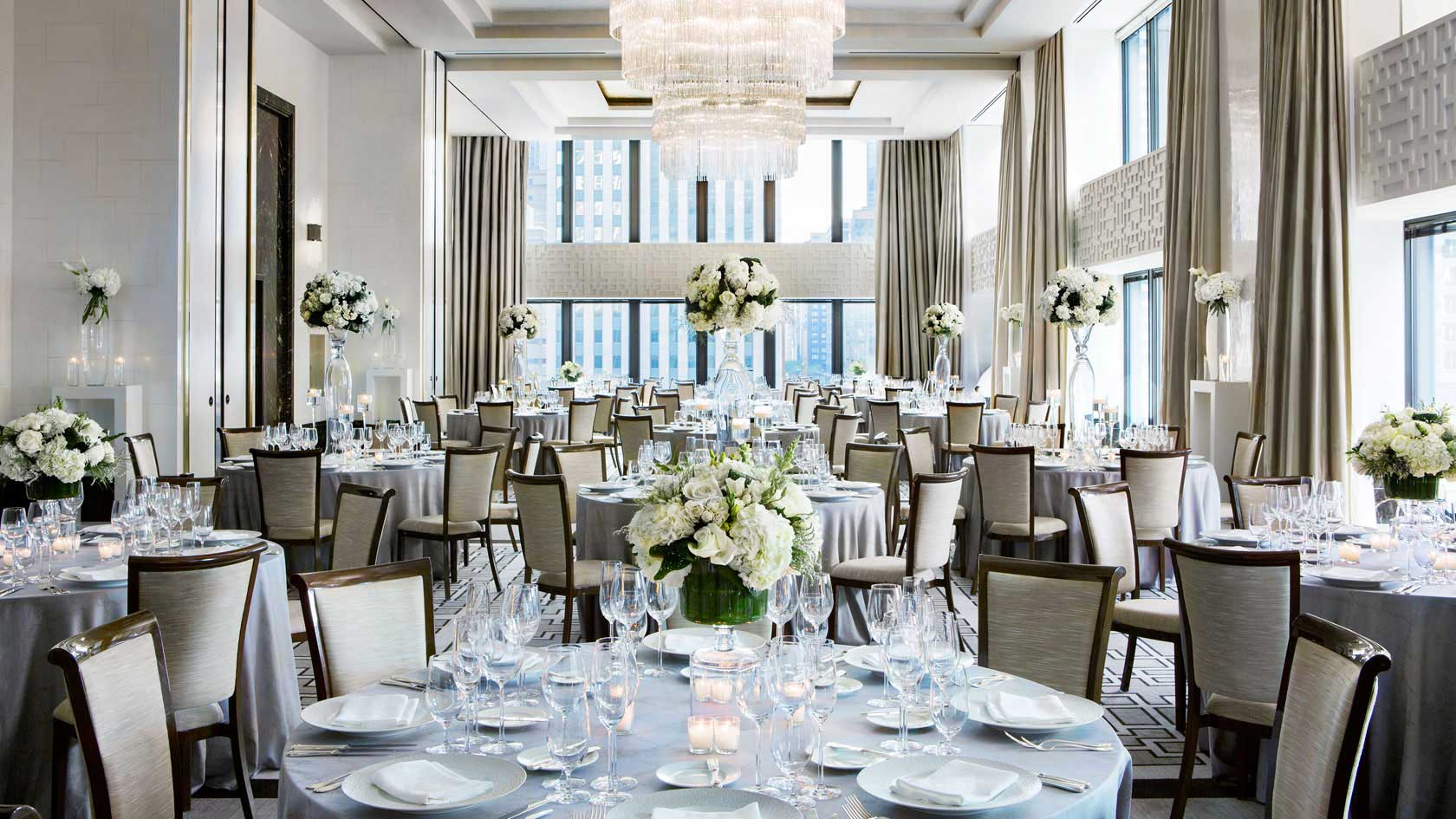 Langham Devonshire ballroom wedding set up