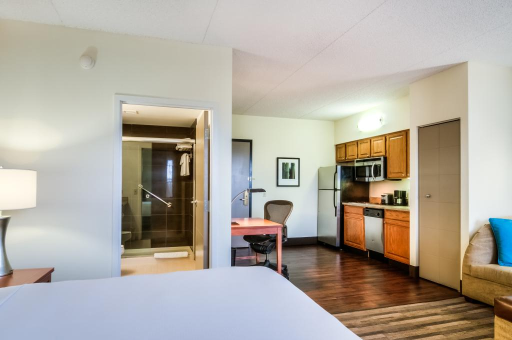 Hyatt House bedroom with attached kitchenette